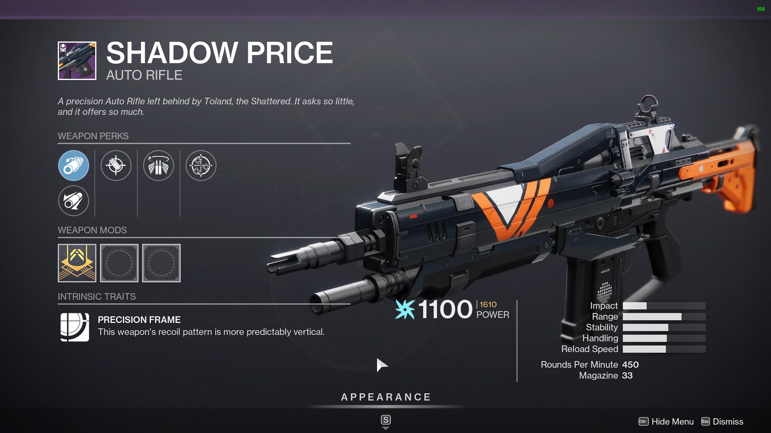 destiny 2 shadow price god rolls