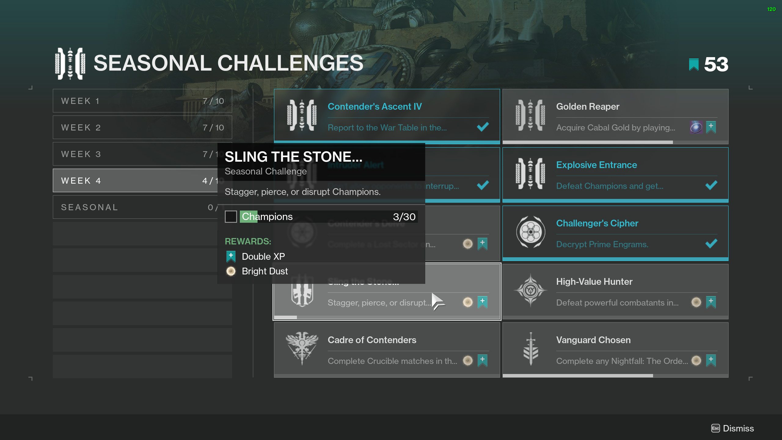 destiny 2 sling the stone seasonal challenge