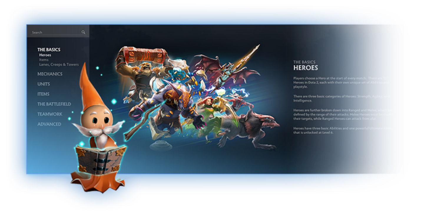 The glossary explains Dota 2 heroes and mechanics in simple terms.