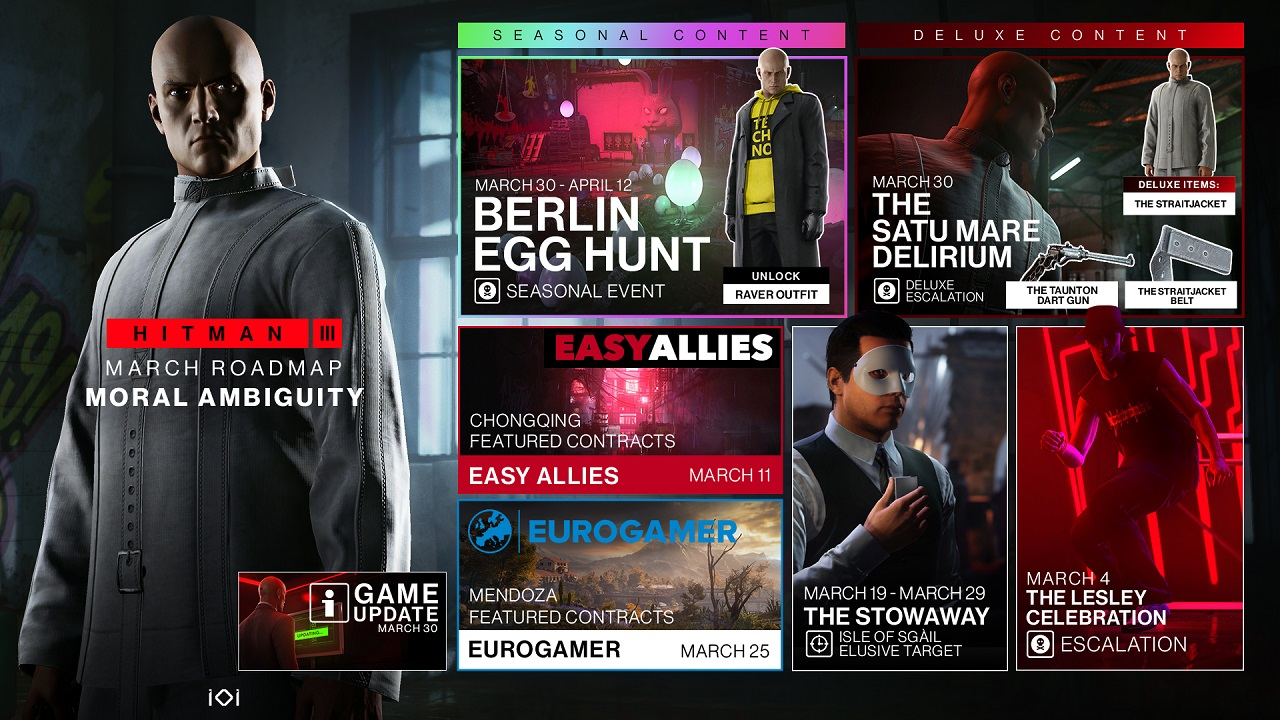 March 30 is going to be a day to watch as Hitman 3 gets a game update, Deluxe Escalation, and Seasonal Event, all in one.