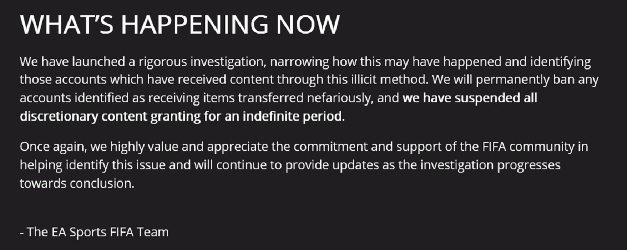 EA has ceased all discretionary content granting in lieu of initial findings of the ongoing FIFA 21 FUT investigation.