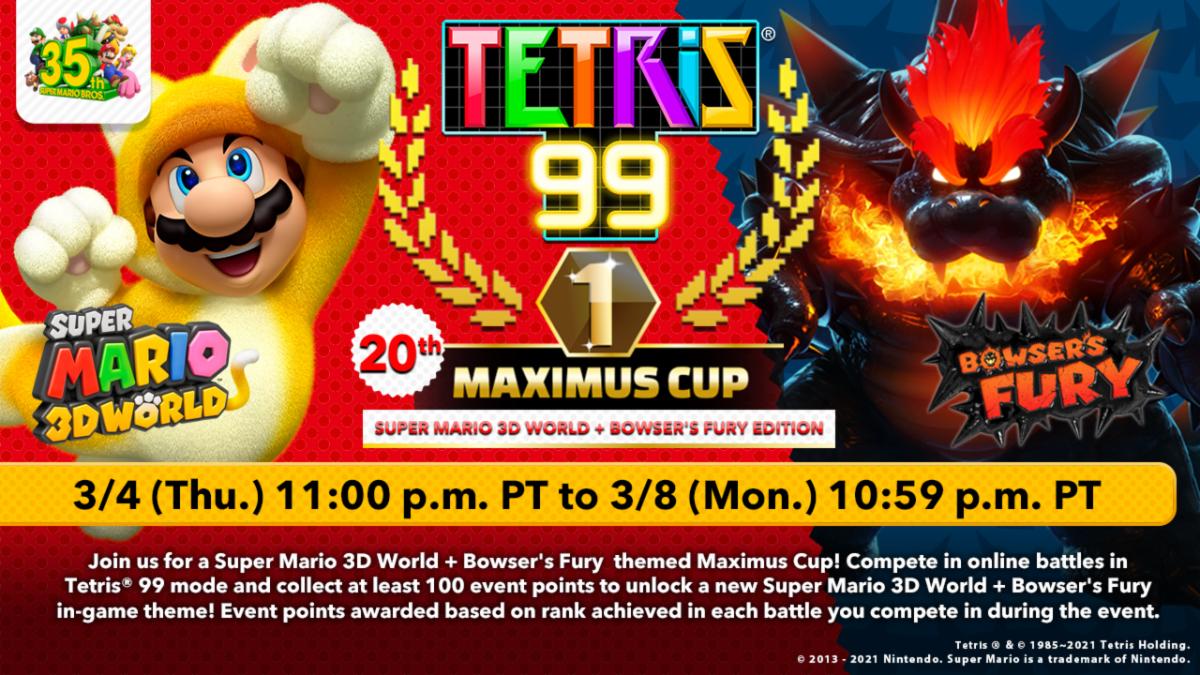 tetris 99 20th maximus cup super mario 3d world bowser's fury event