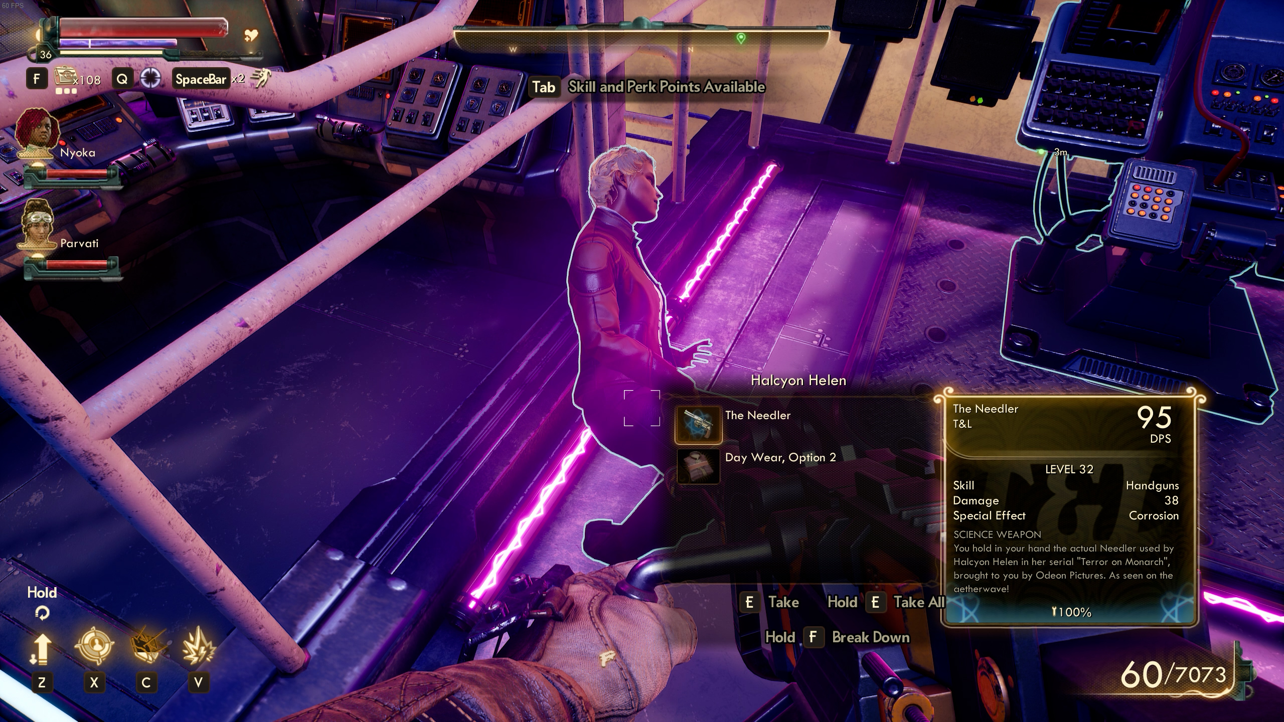 Getting the Needler off Helen's body - The Outer Worlds: Murder on Eridanos