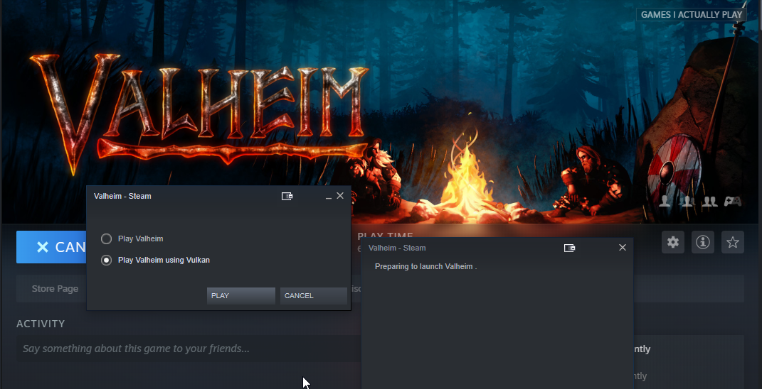 what does play valheim in vulkan mean