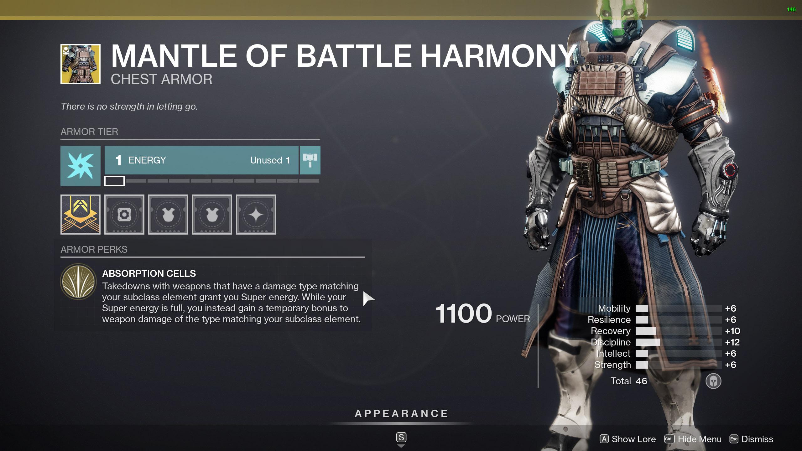 destiny 2 exotic warlock armor mantle of battle harmony