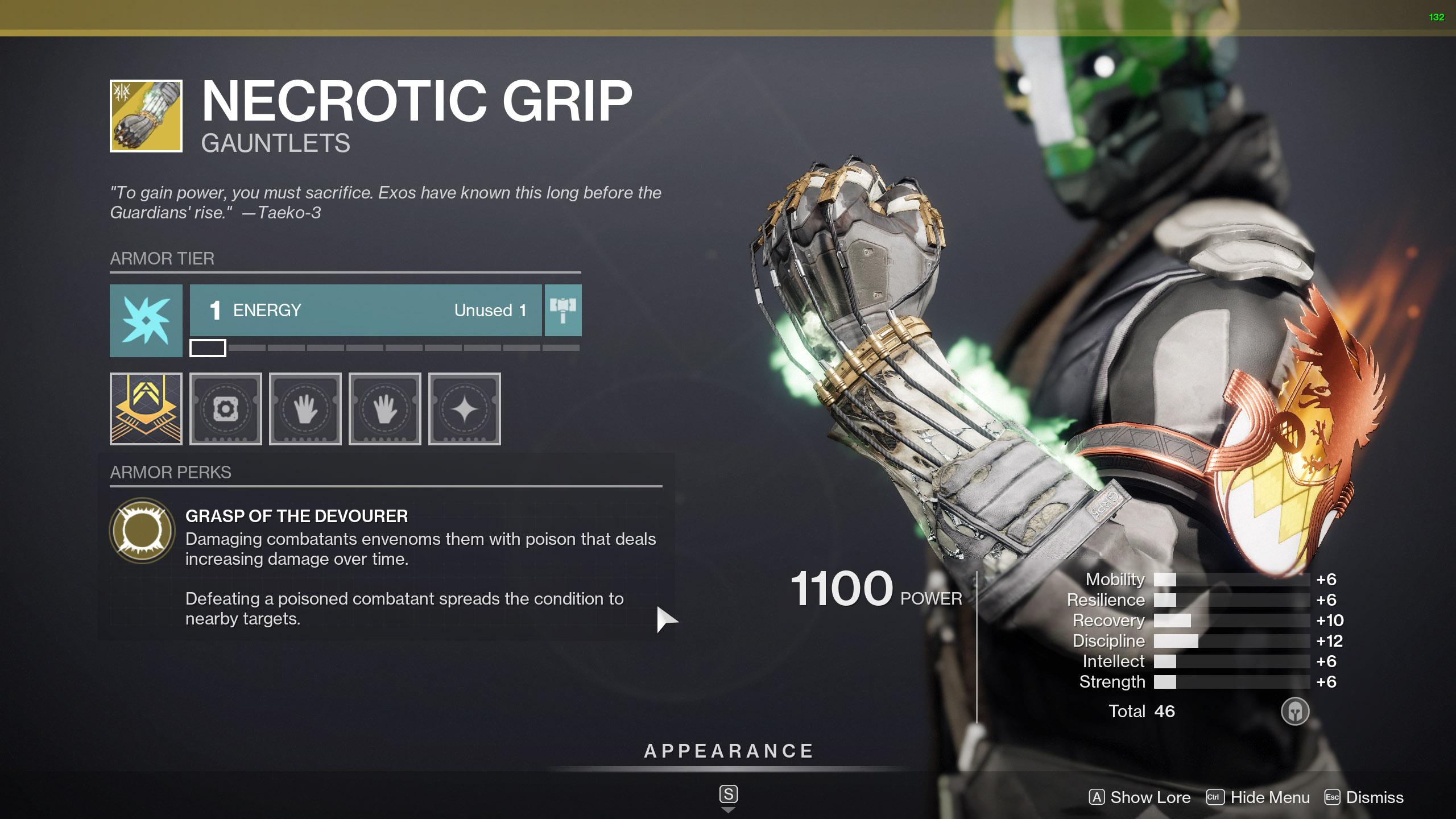 destiny 2 exotic warlock armor necrotic grip