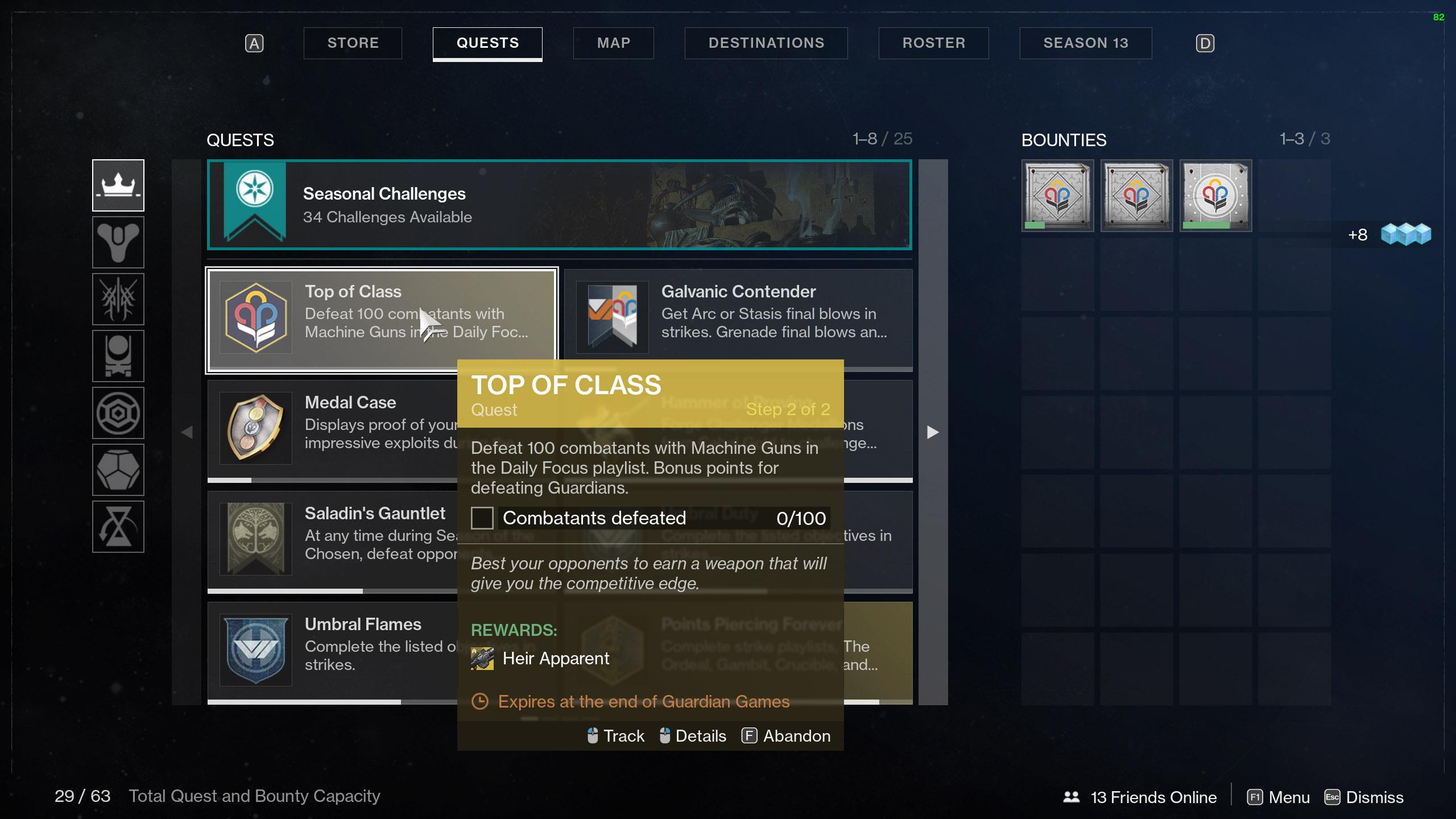 destiny 2 heir apparent top of class machine gun kills