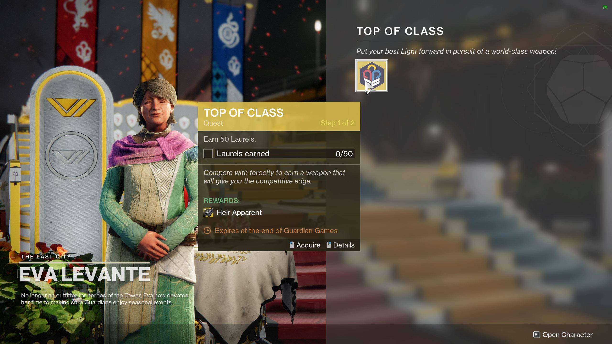 destiny 2 heir apparent top of class
