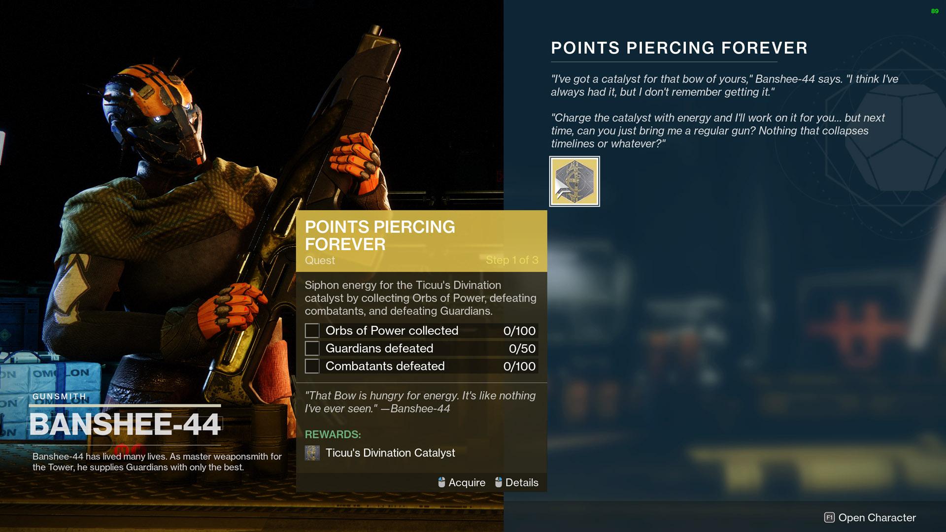 destiny 2 points piercing forever ticuus divination catalyst