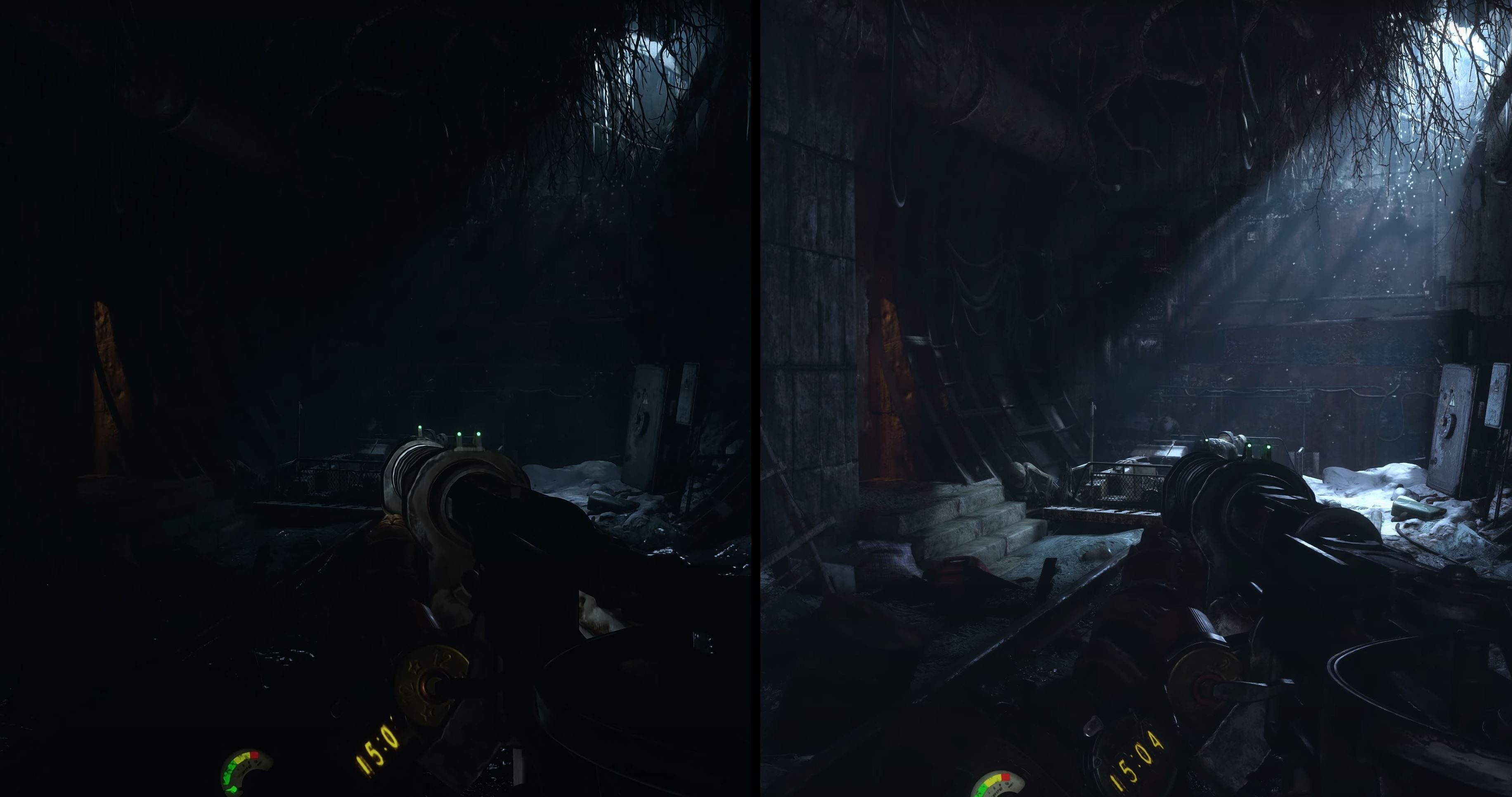 An underground tunnel in early in the game. Enhanced Edition on the right.