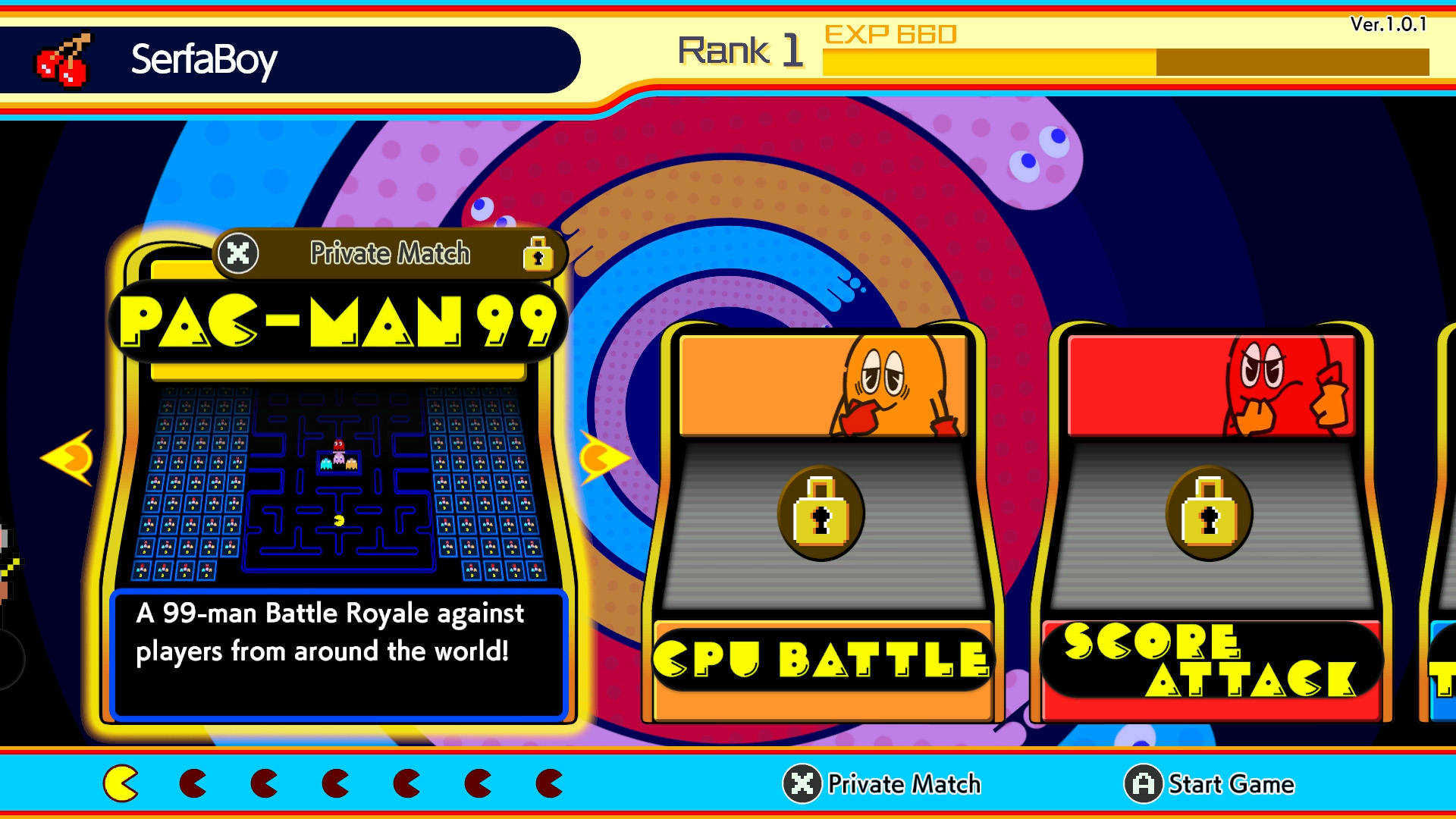 pac-man 99 play with friends private match