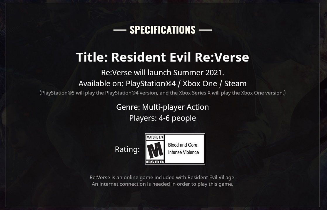 The updated window for Resident Evil Re:Verse on the game's website pushes it back to Summer 2021, well beyond its expected launch beside Village.