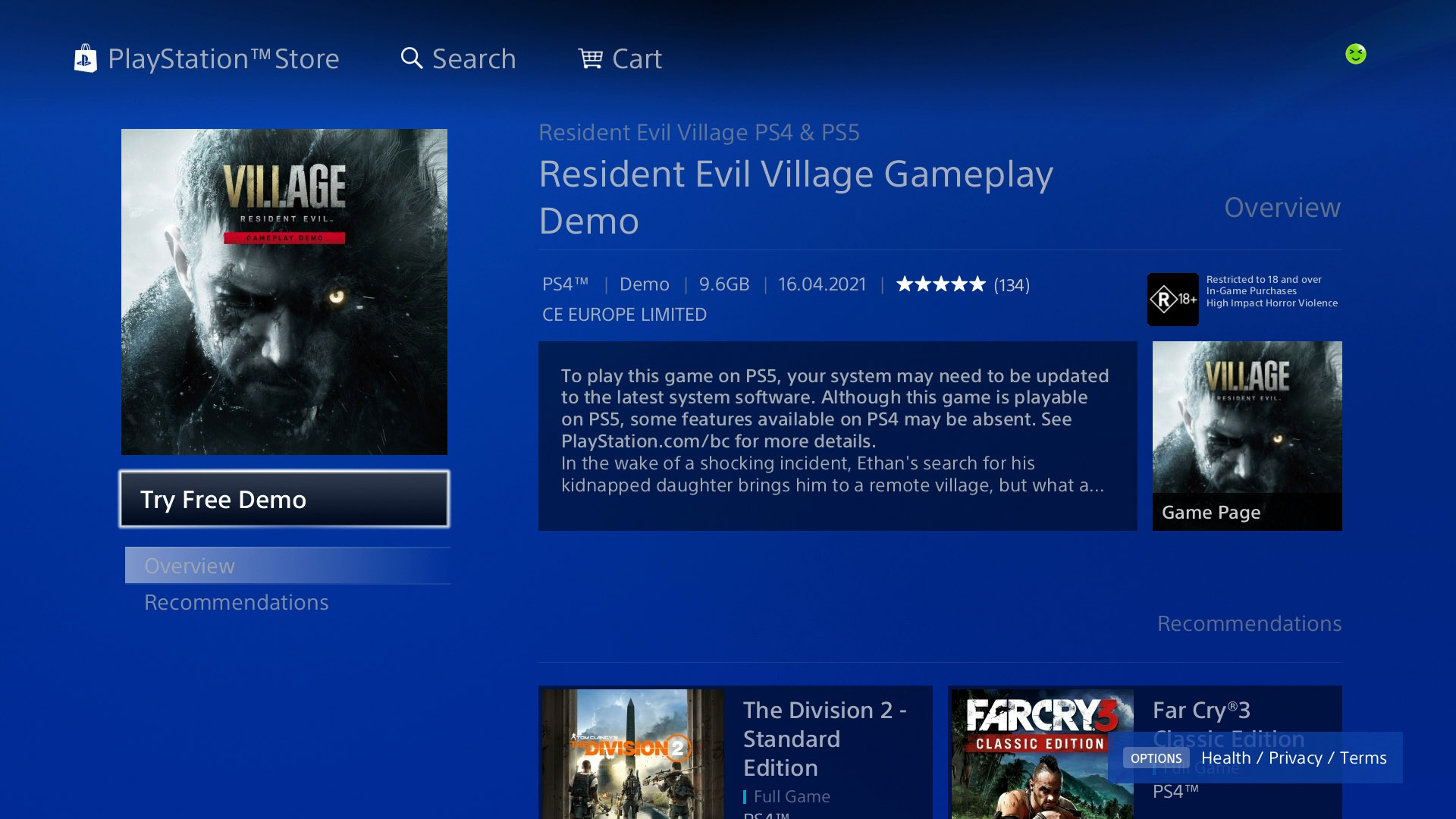 resident evil village demo preload time