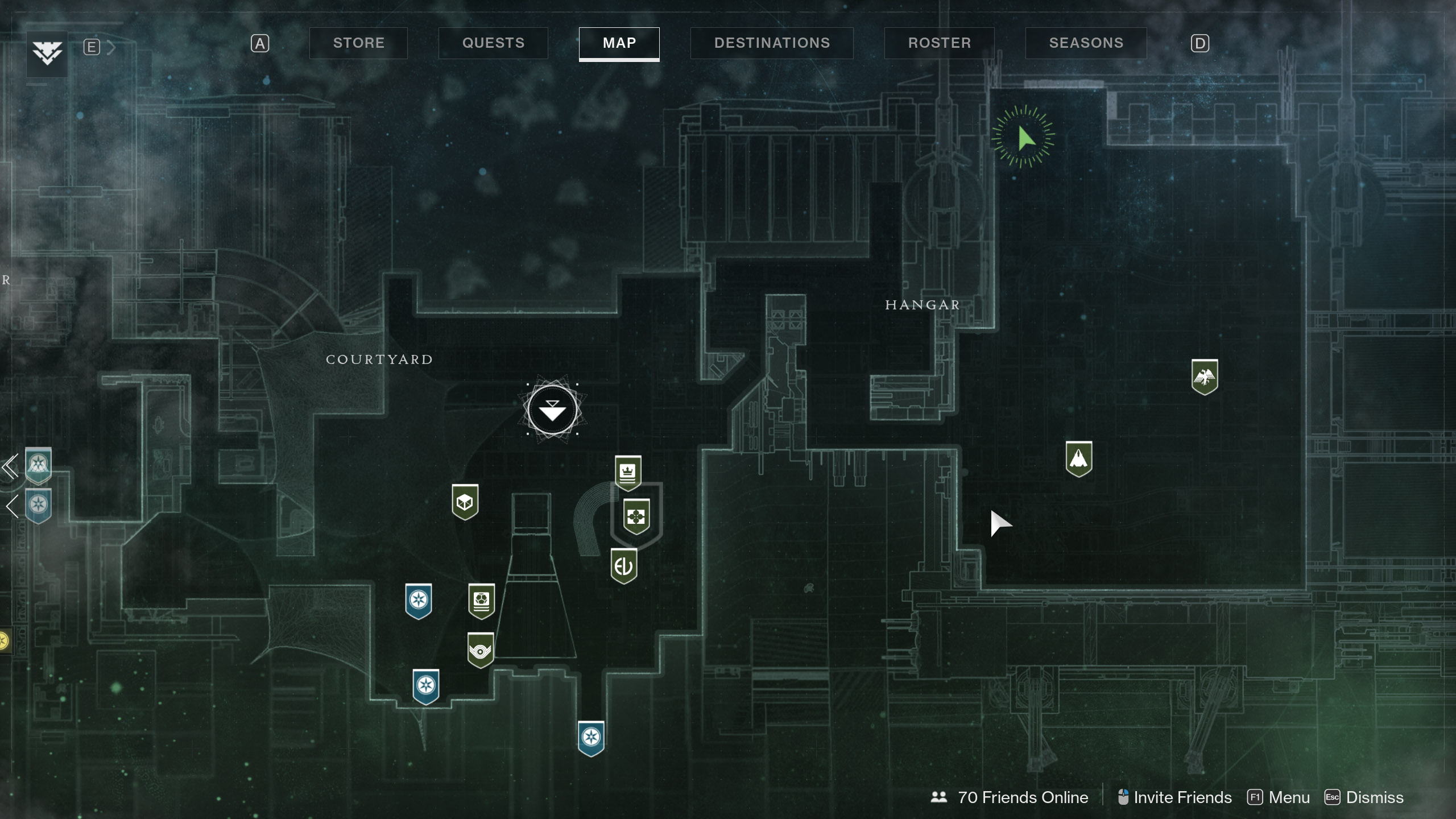 Xur can be found in the Tower Hangar