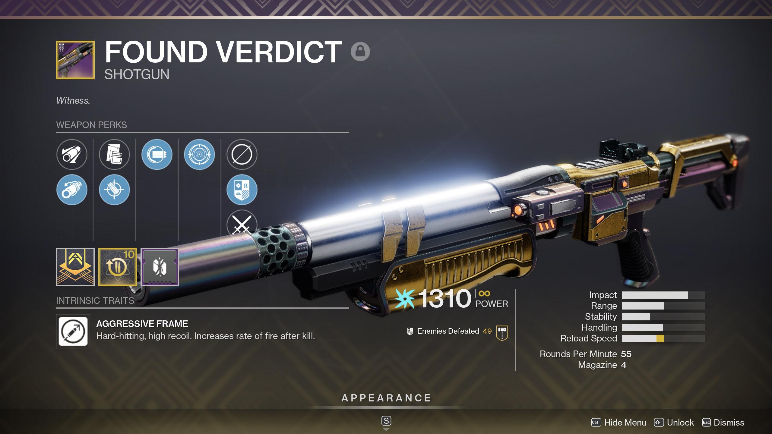 destiny 2 found verdict god roll