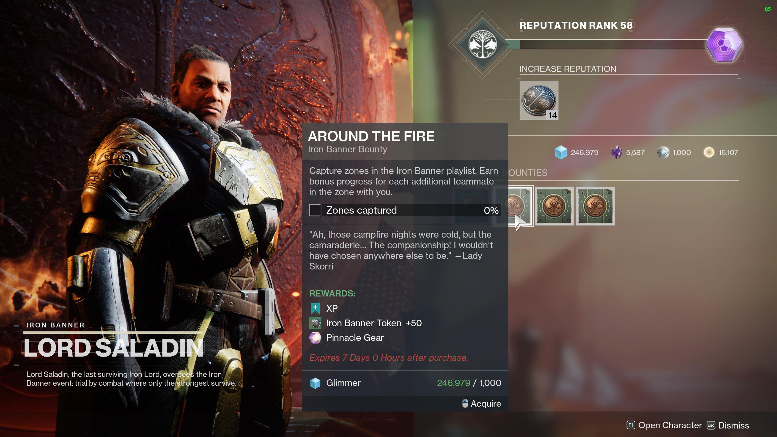 destiny 2 iron banner season 14 bounties around the fire