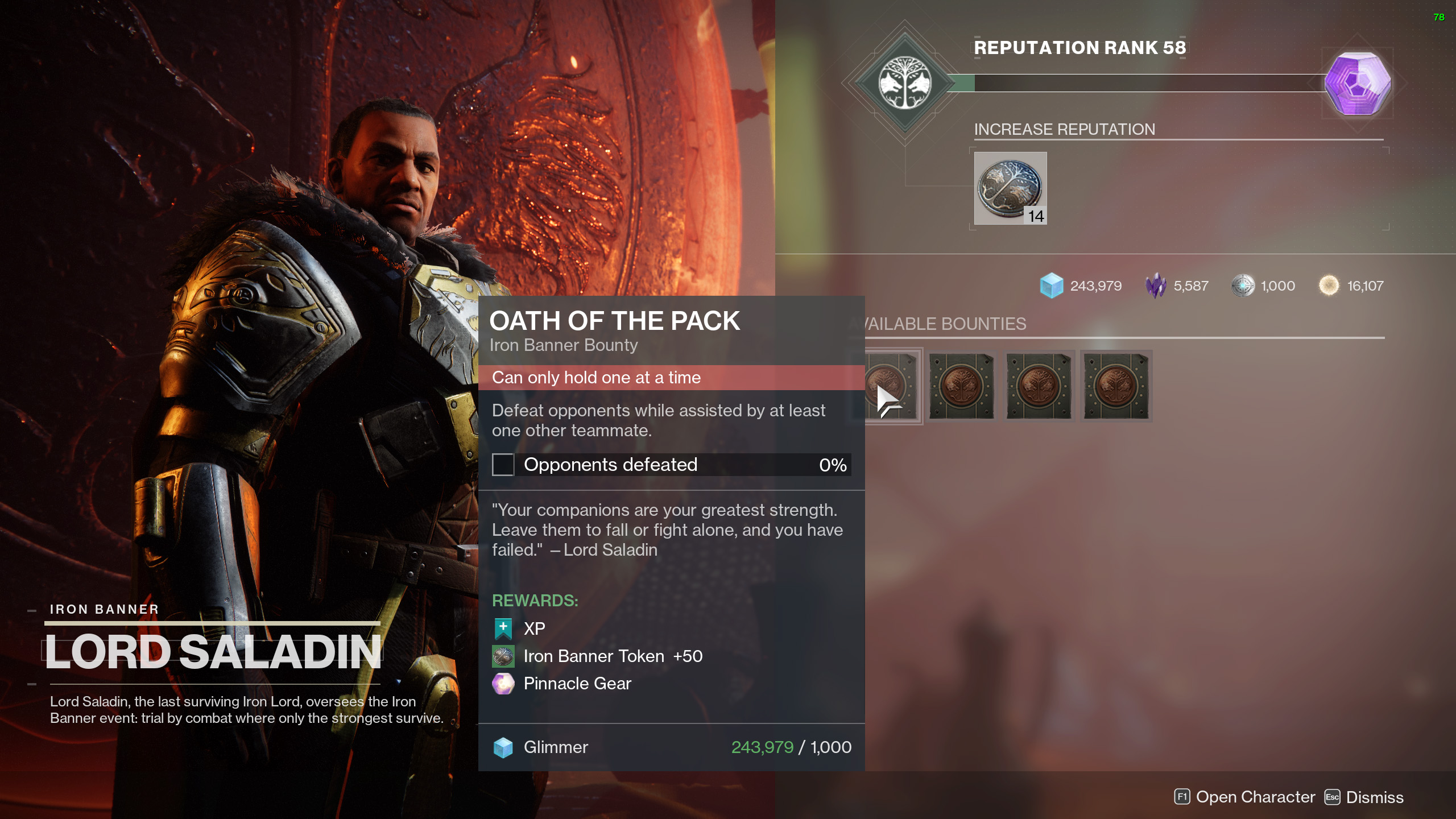 destiny 2 iron banner season 14 bounties oath of the pack