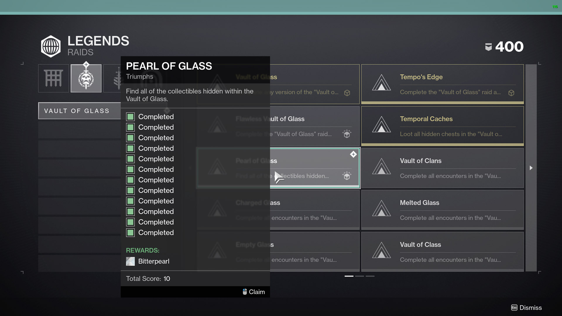 destiny 2 pearl of glass vault of glass collectibles