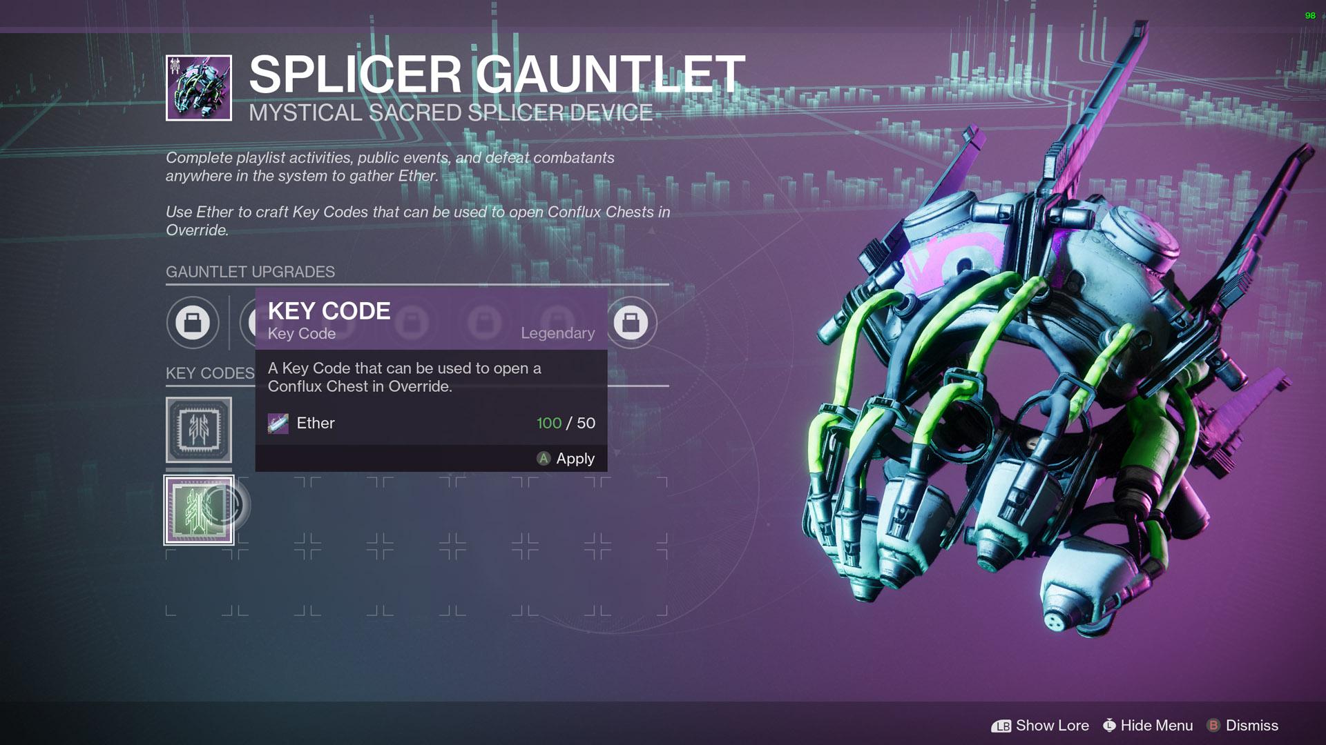 destiny 2 splicer gauntlet key code