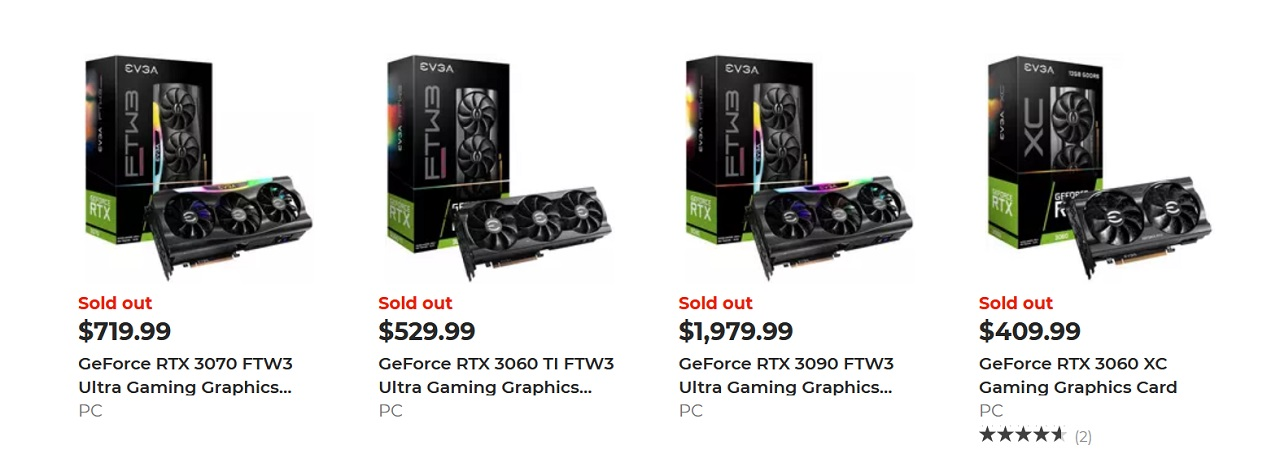 Different shop, same story. Even at GameStop, Nvidia RTX 30XX Series GPUs remain hard to get one's hands on if you're not quick and/or lucky.