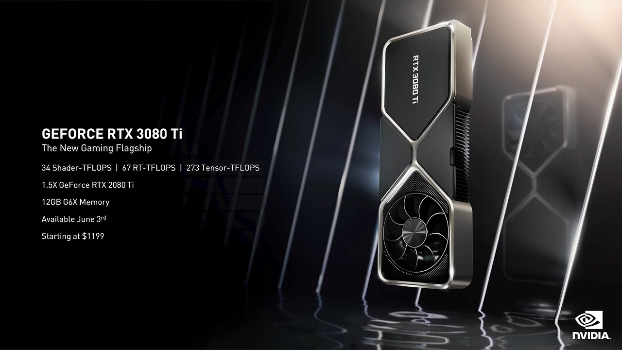The NVIDIA RTX 3080 Ti packs on a supposed 1.5 times the power of the 2080 Ti GPU and is slated to release on June 3, starting at $1200.