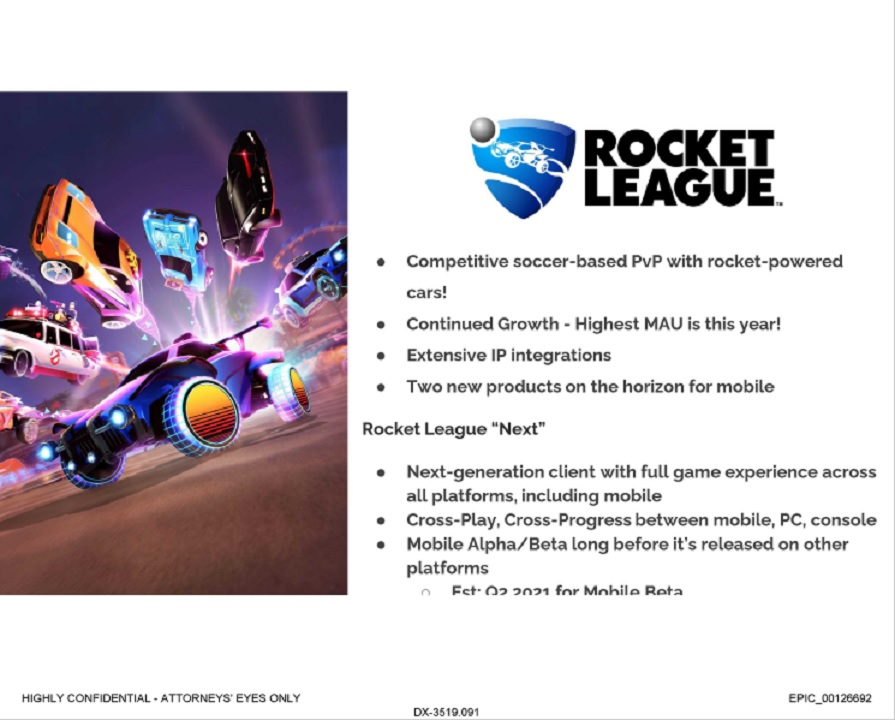 The slide regarding Rocket League Next suggests that the client would first see alpha and beta testing on mobile devices before launching on further platforms.