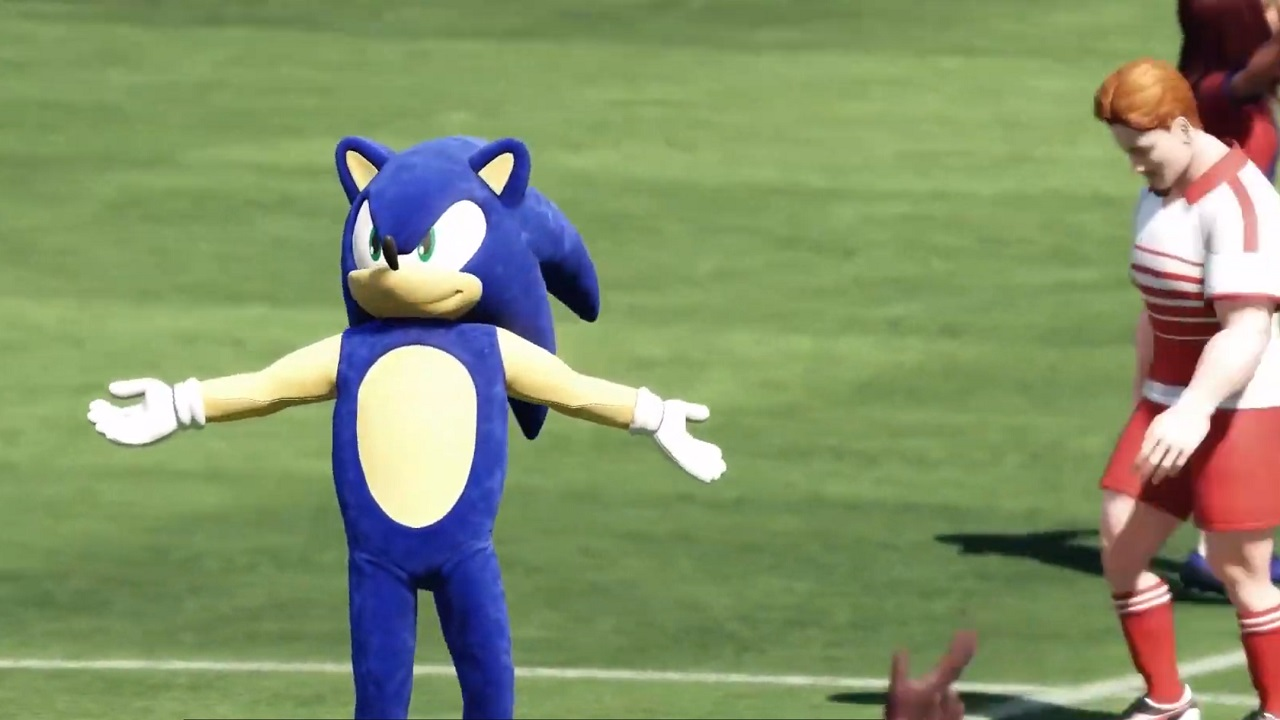 Yes, that is a human athlete in a Sonic outfit who just scored a soccer goal and is celebrating at the Olympics Tokyo 2020.