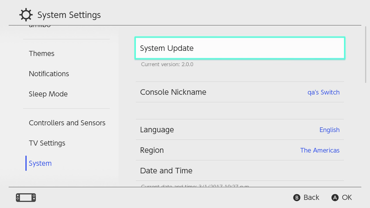 To update your Nintendo Switch firmware just go to your systems settings.