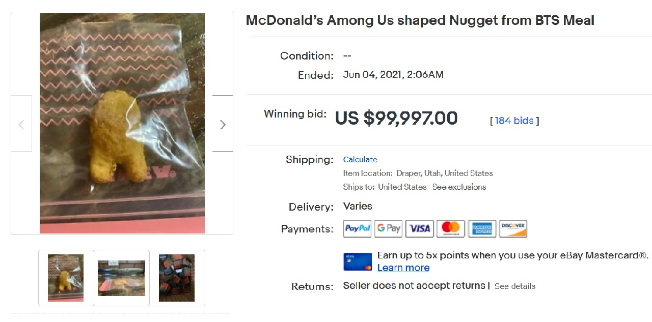 The Among Us nugget auction drew in 184 bids nearing $100,000 USD as bidders competed to get their hands on the sus nugg.
