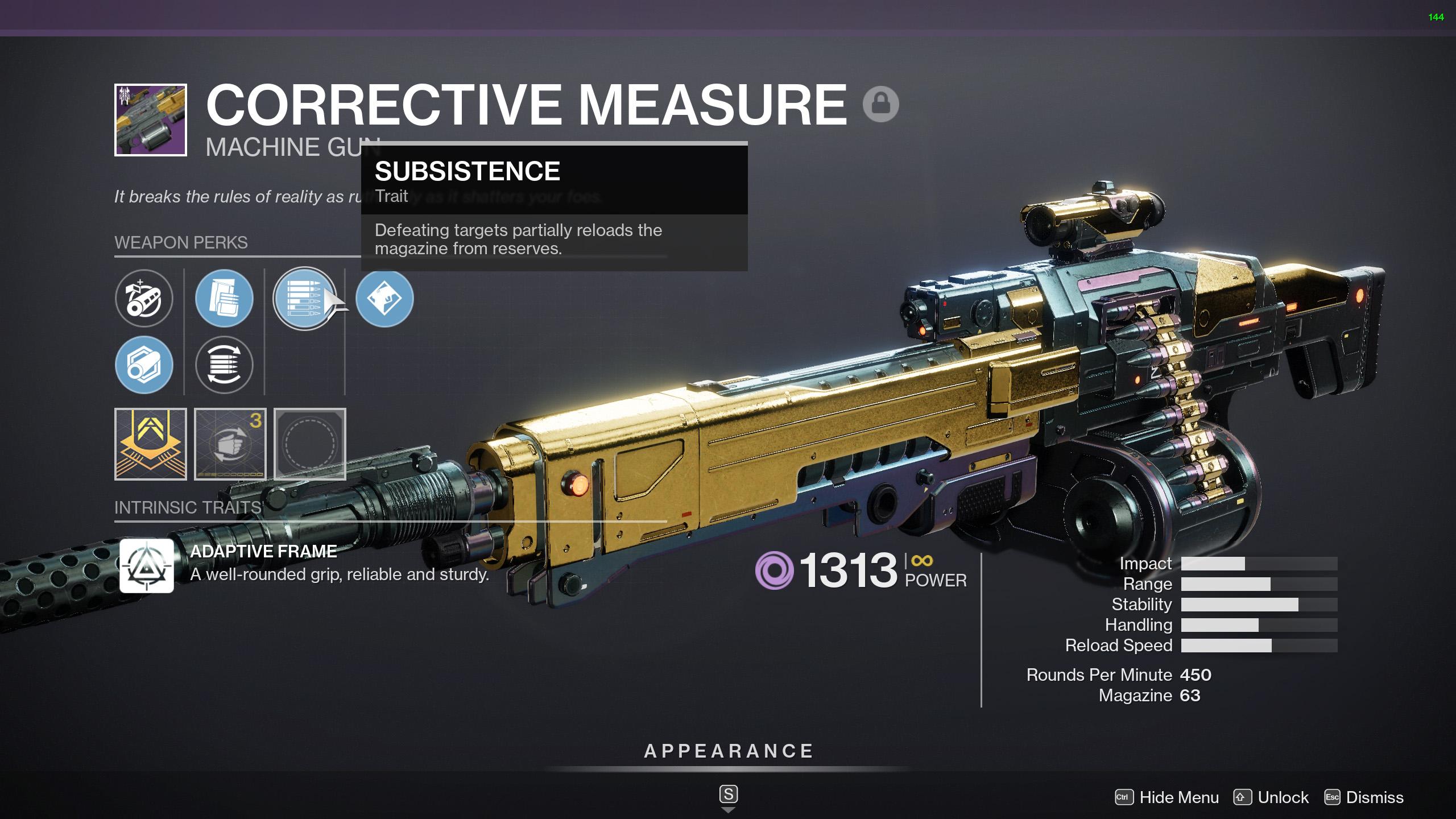 destiny 2 corrective measure god roll