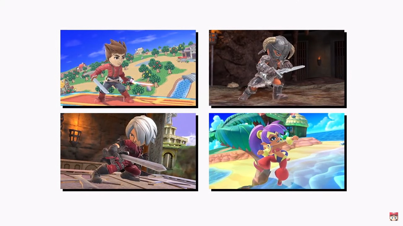 Lloyd, Skyrim's Dovahkin, Dante from Devil May Cry, and Shantae will arrive with Kazuya as Mii Fighters in Super Smash Bros. Ultimate this June 2021.