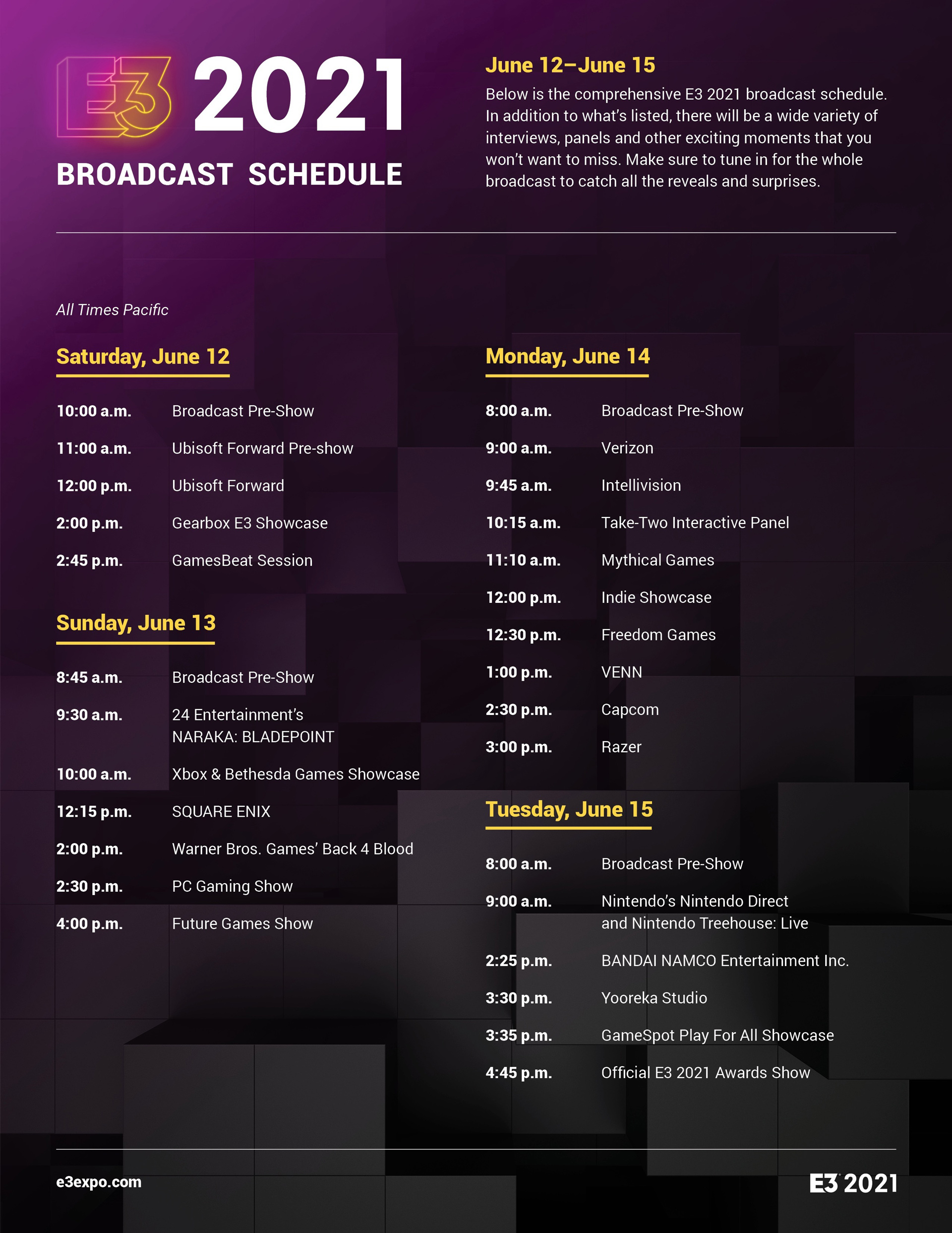 e3 2021 schedule dates times lineup
