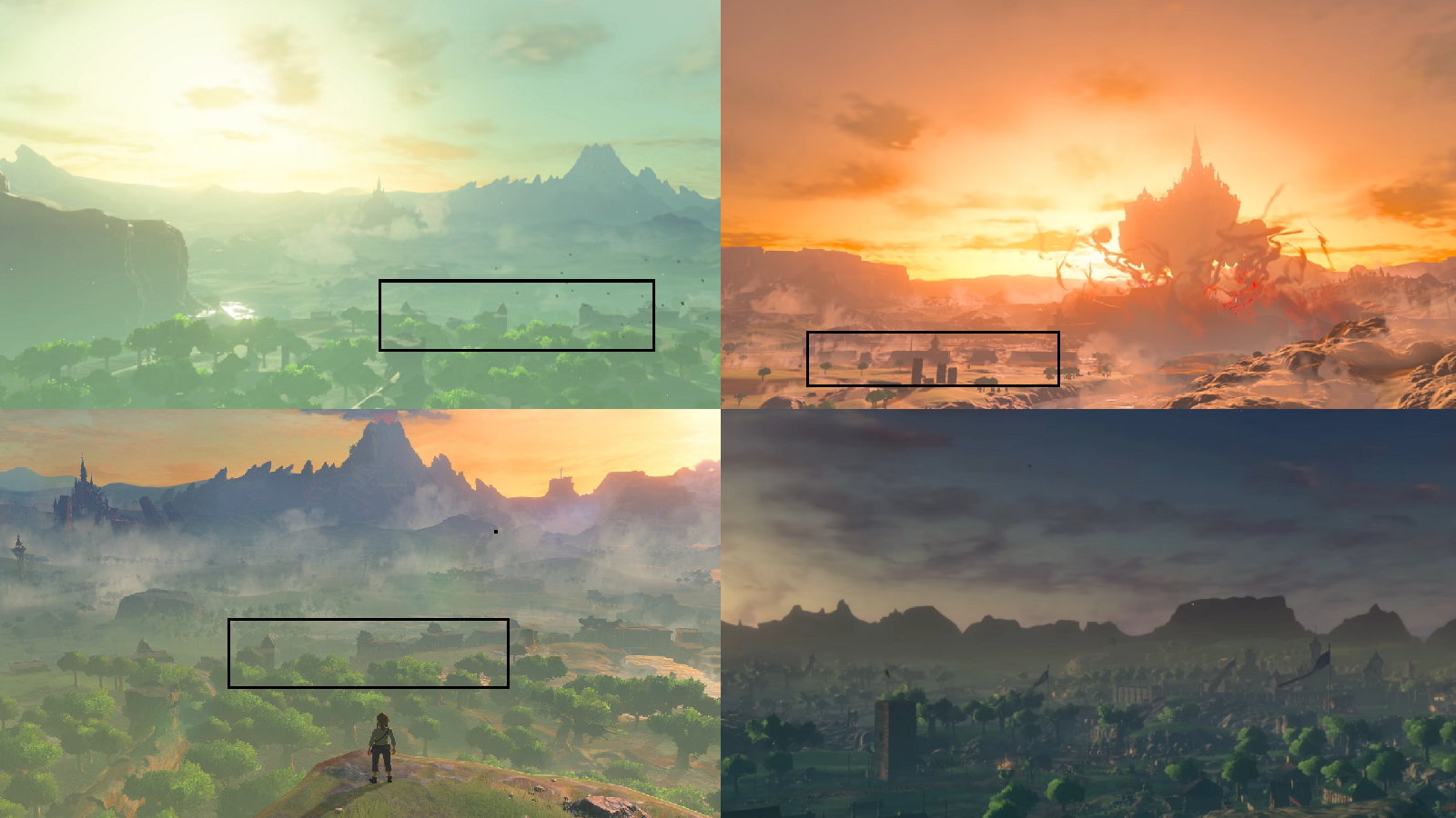 If you look at images of Central Hyrule from the first Breath of the Wild 2 teaser (top left) and second teaser (top right), they match up more with the ruin in BOTW 1 (bottom left) than the still somewhat intact villages and fortifications at the end of Age of Calamity (bottom right).