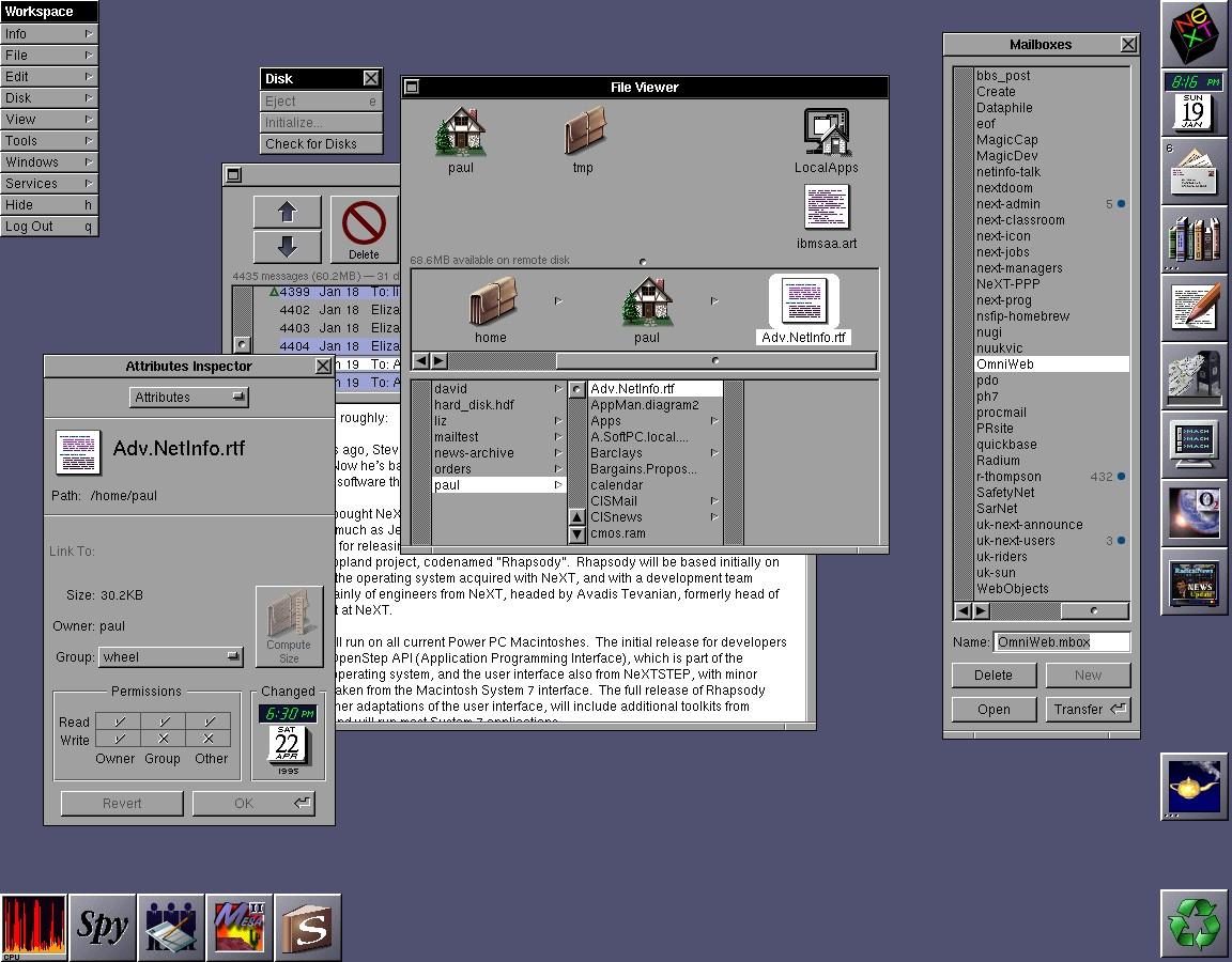 NeXTSTEP's desktop environment.