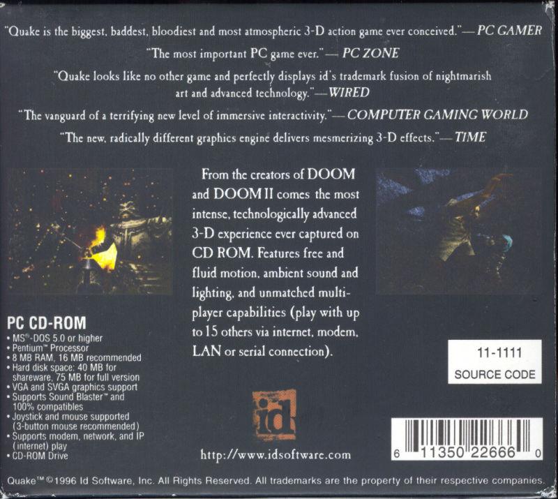 The flip side of Quake's CD case.