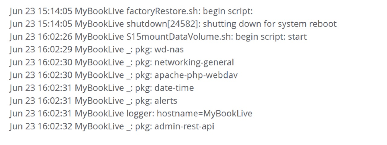 Users experiencing data loss on the WD My Book Live observed the following script in the device's activity logs.