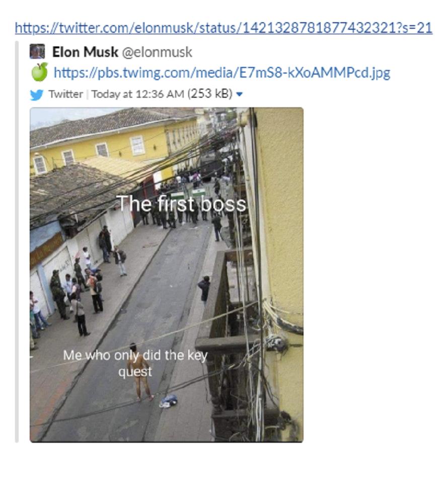 Elon Musk's deleted tweet directed at Apple.