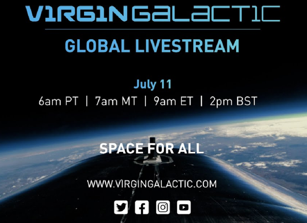 The Virgin Galactic Unity 22 mission livestream is set to start at 6 AM PT.