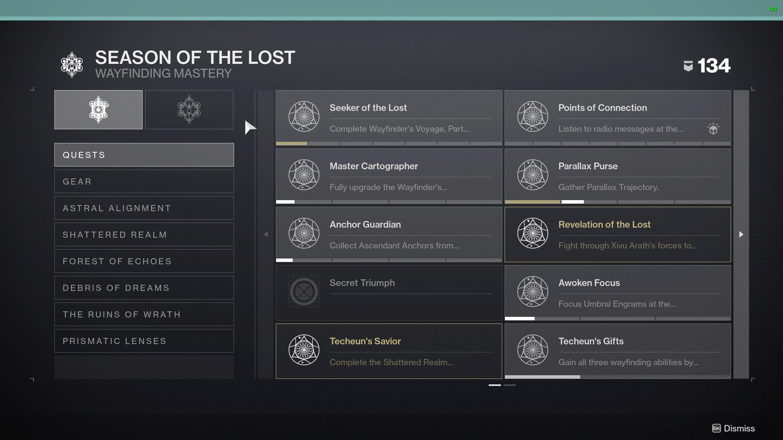 destiny 2 season of the lost triumphs