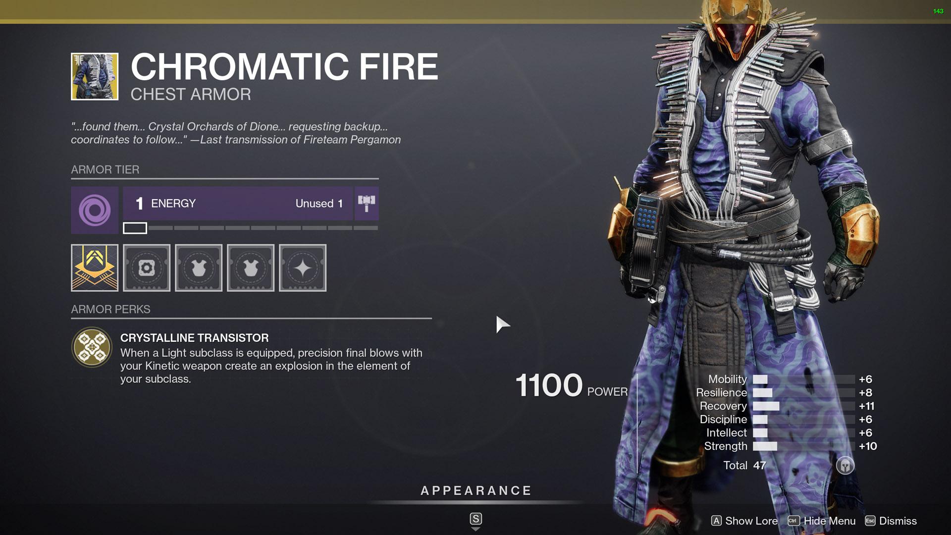 destiny 2 exotic warlock armor chromatic fire
