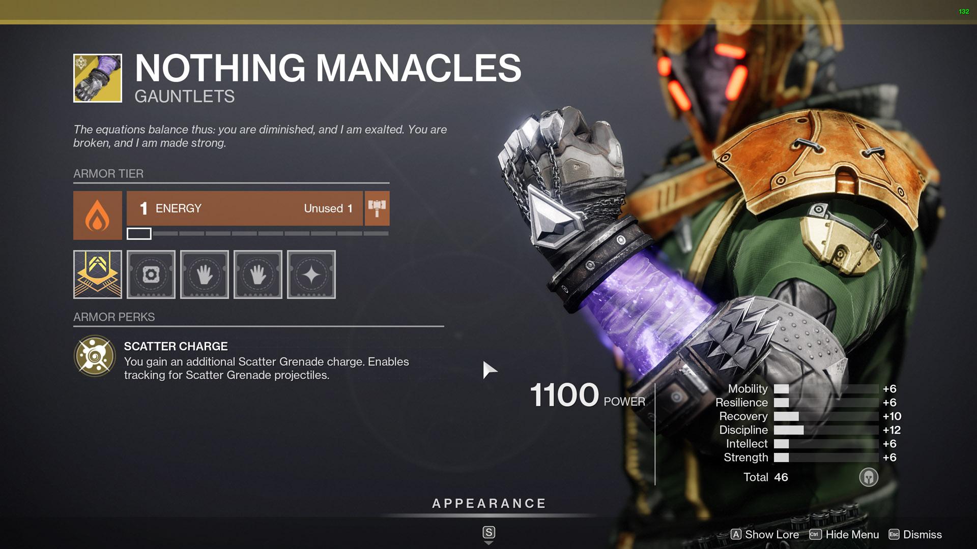 destiny 2 exotic warlock armor nothing manacles