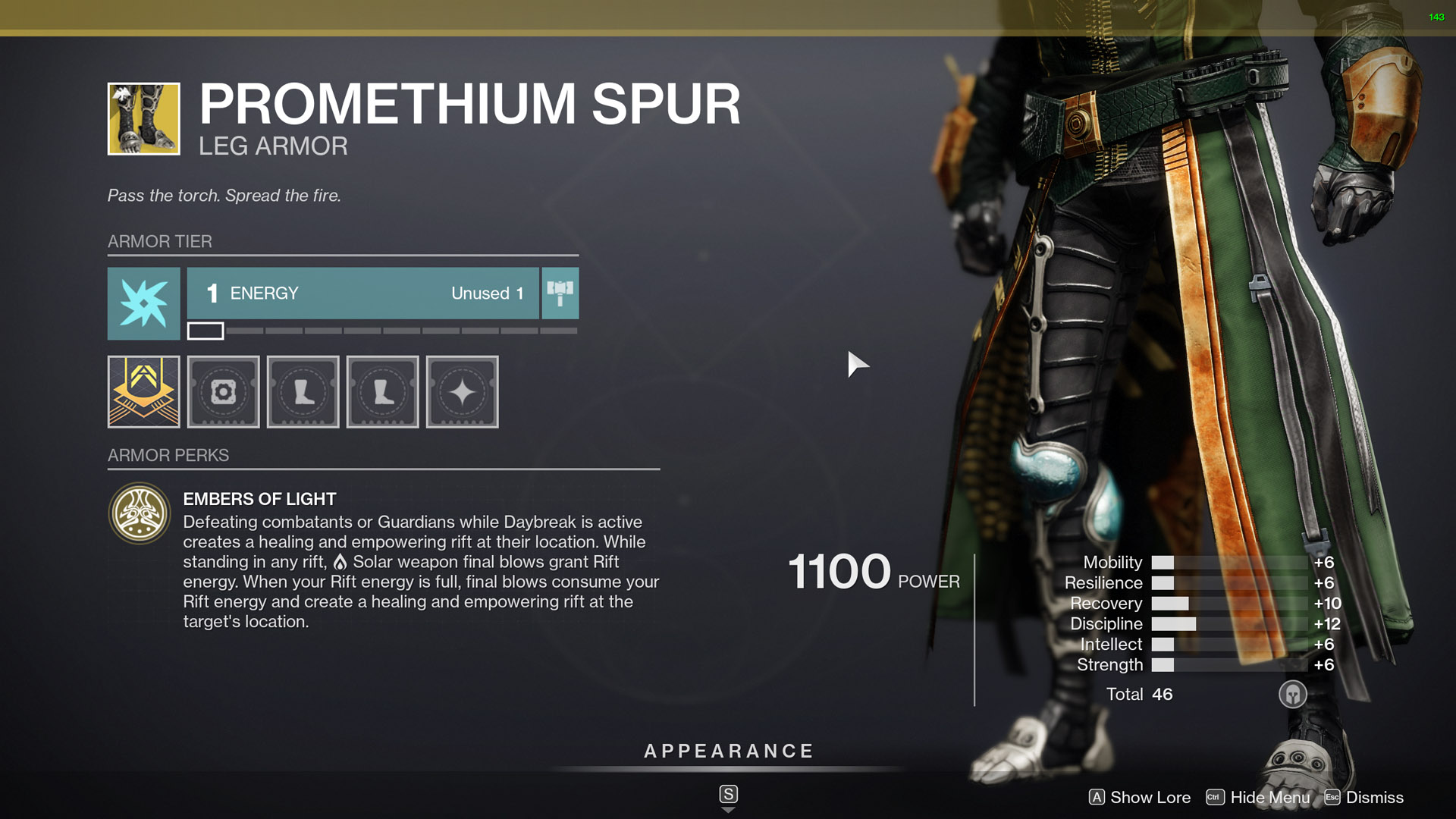 destiny 2 exotic warlock armor promethium spur