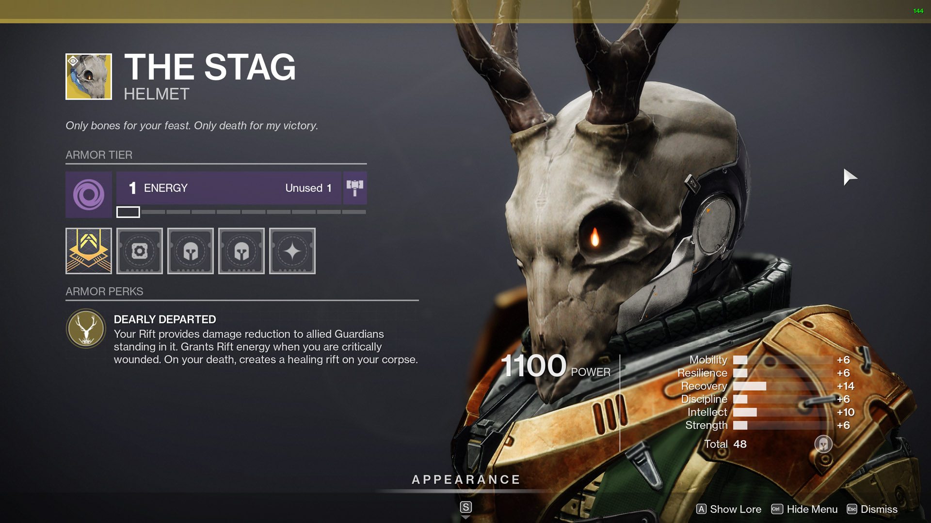 destiny 2 exotic warlock armor the stag