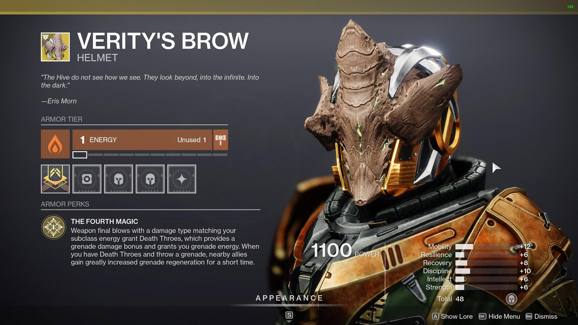 destiny 2 exotic warlock armor veritys brow