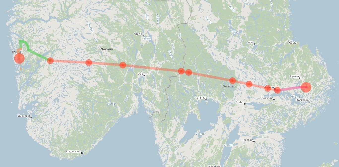 Follow this flightplan from ESSA to EBRN if you'd like to fly along.