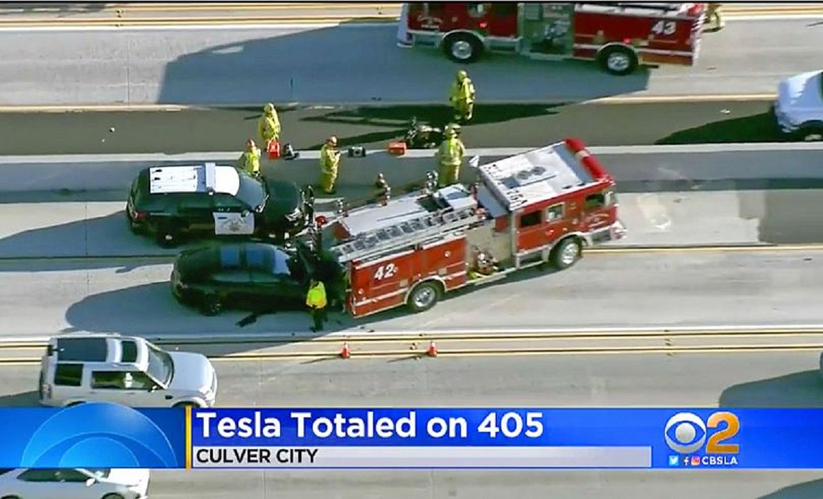 The NHTSA investigation involves a probe into multiple crashes since 2018, such as the one pictured when a Model S hit a fire truck on-scene at an accident in California in 2018. (Photo by AP)