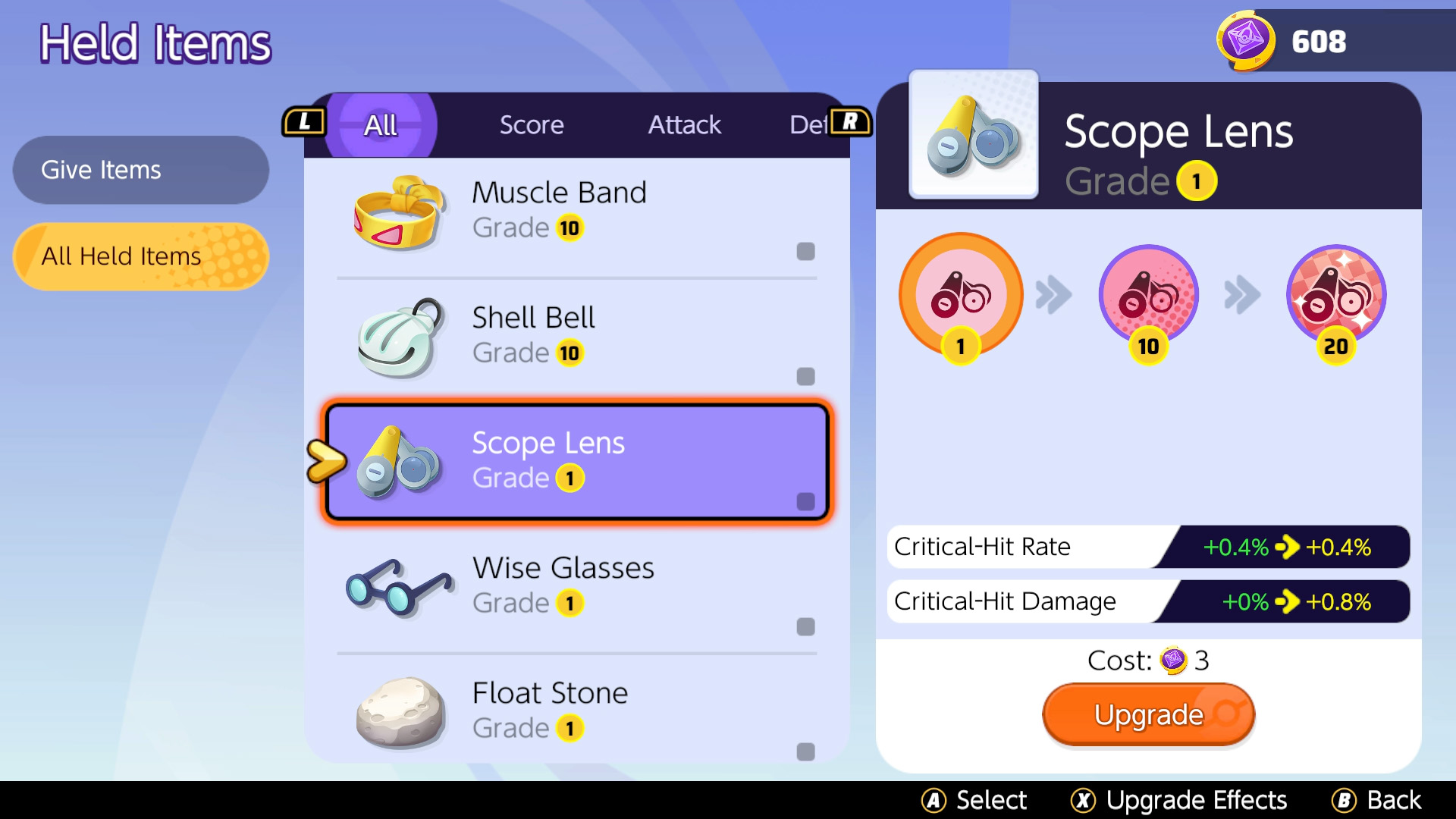 pokemon unite charizard build held items