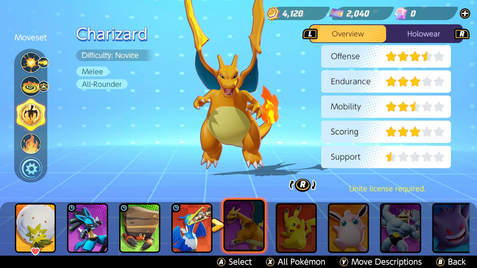 pokemon unite charizard build
