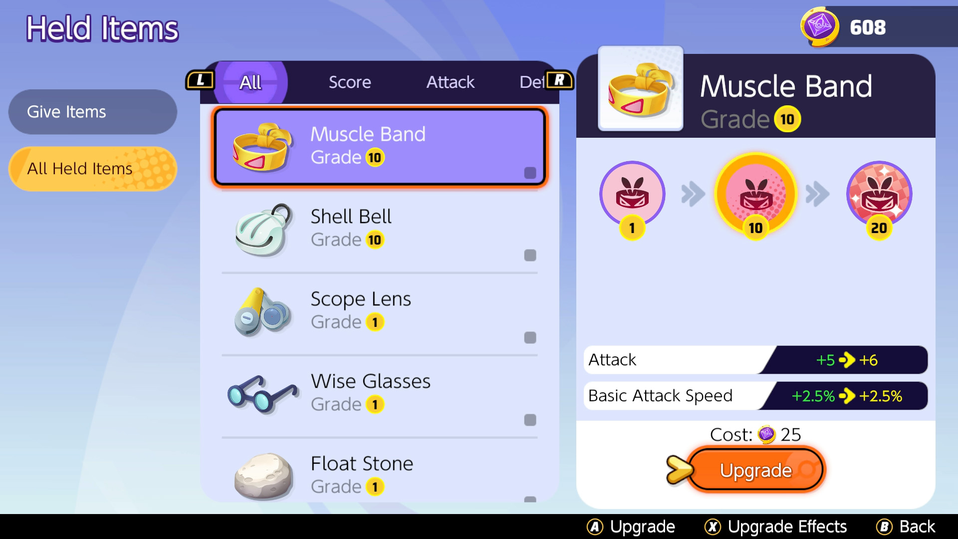 pokemon unite upgrade held item cost