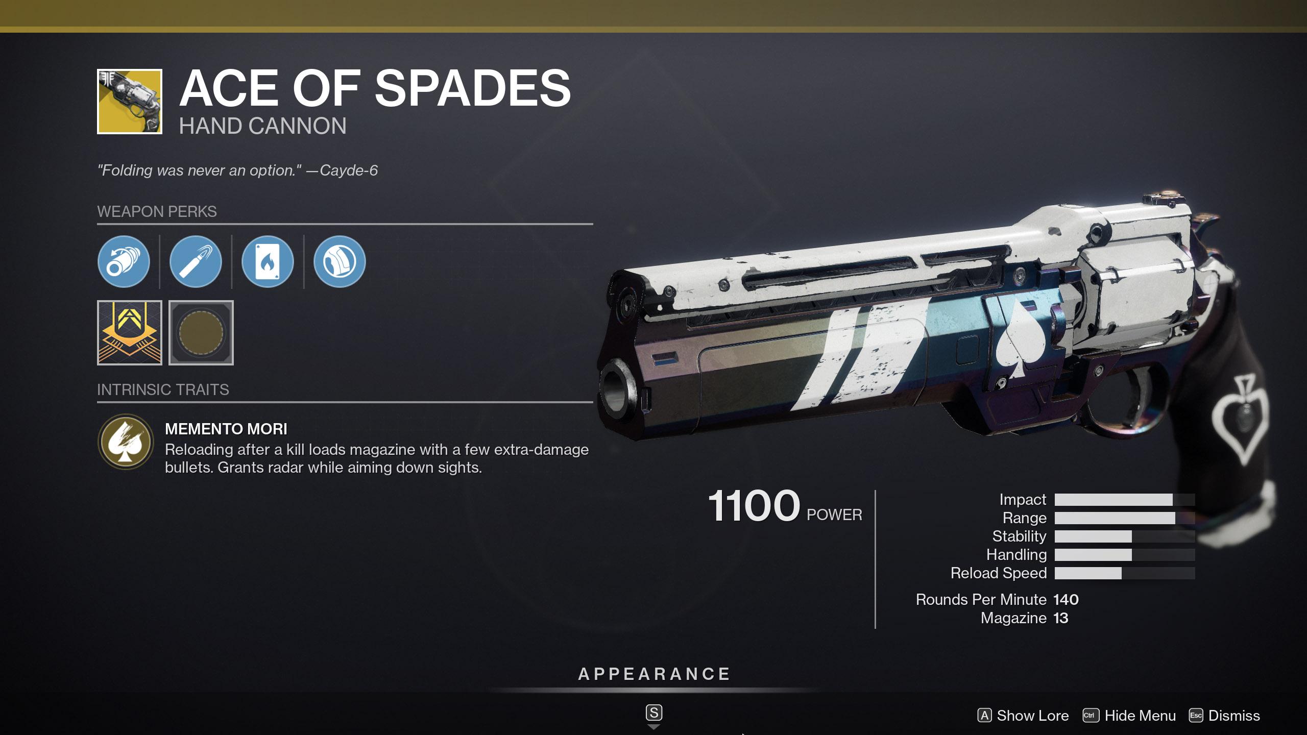 Ace of Spades Trials Destiny 2